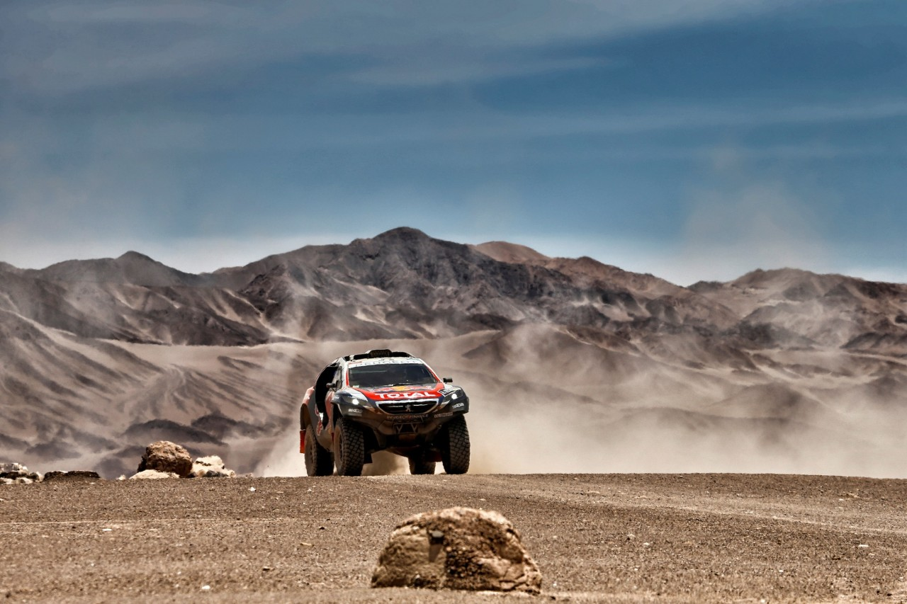 302 PETERHANSEL Stephane (Fra) COTTRET Jean paul (Fra) Peugeot action during the Dakar 2015 Argentina Bolivia Chile, Stage 9 / Etape 9 -  Iquique to Calama on January 13th 2015 at Iquique, Chile. Photo Frederic Le Floch / DPPI
