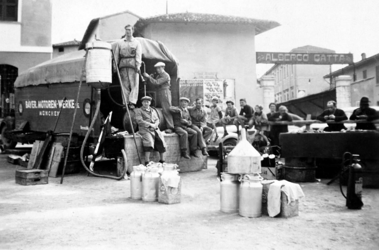 BMW team paddock at Castiglione for the 1st Italian Mille Miglia Grand Prix in Brescia, April 28, 1940 (03/2010)