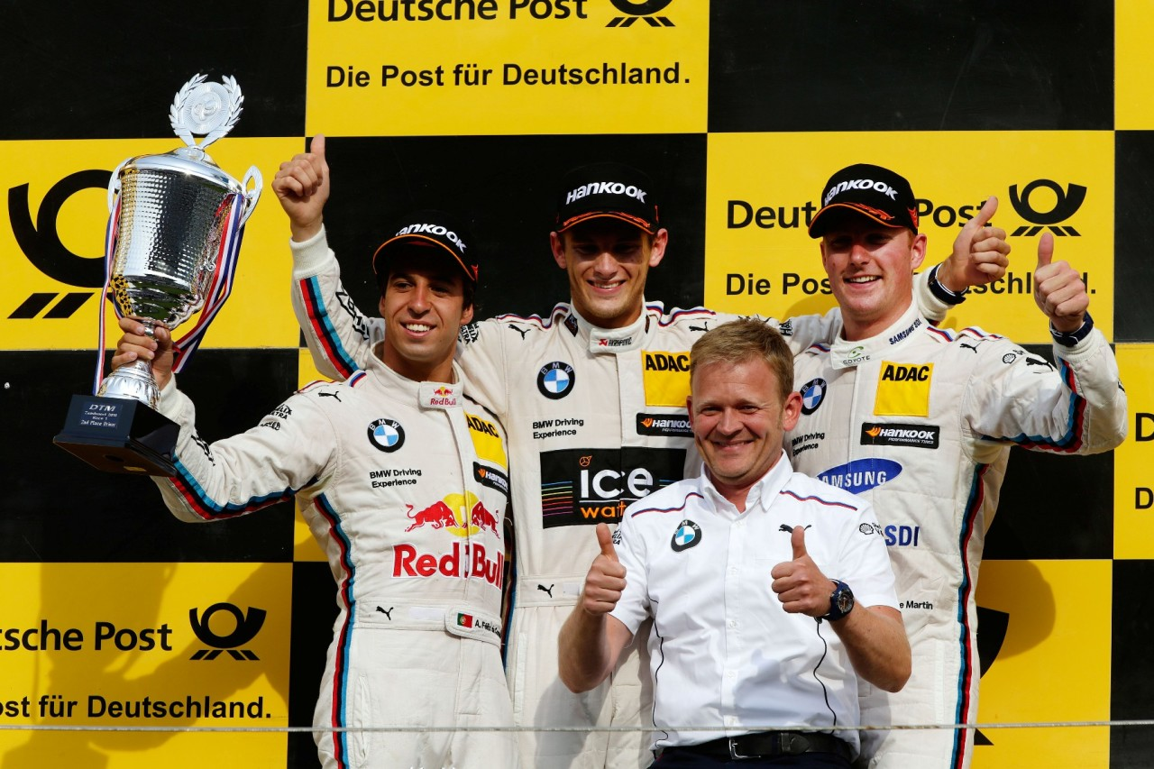 Zandvoort (NL) 11th July 2015. BMW Motorsport, Race 07, 2nd Place Driver Antonio Felix da Costa (PT), Winner Marco Wittmann (DE), Stefan Reinhold (DE) Team Principal BMW Team RMG and 3rd Place Driver Maxime Martin (BE). This image is copyright free for editorial use © BMW AG (07/2015).
